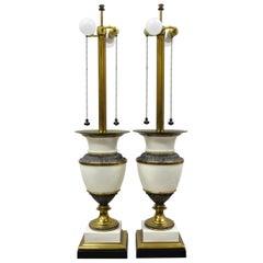 Stiffel Italian Regency Large Porcelain Urn Brass Finish Tall Table Lamps, Pair