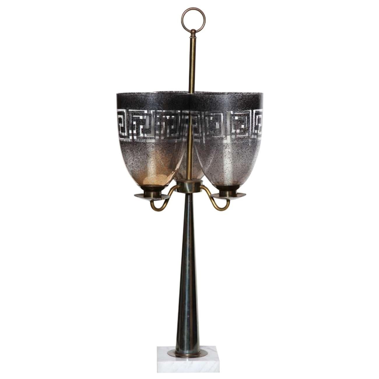 Stiffel Parzinger Style Triple Hurricane Shade Candlestick Table Lamp, 1950s