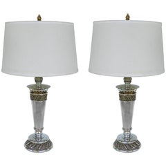 Stiffel Silvered Copper Torch Form Table Lamps