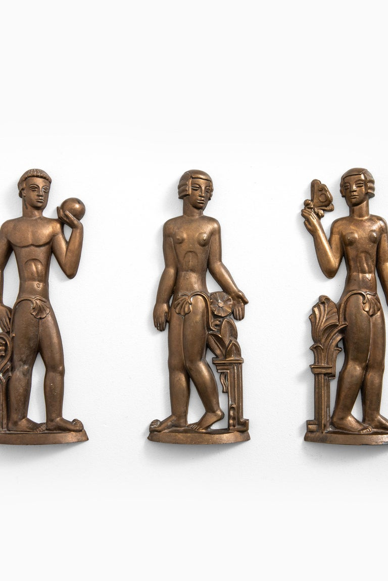 Rare set of 4 reliefs designed by Stig Blomberg. Produced by ASEA in Sweden.