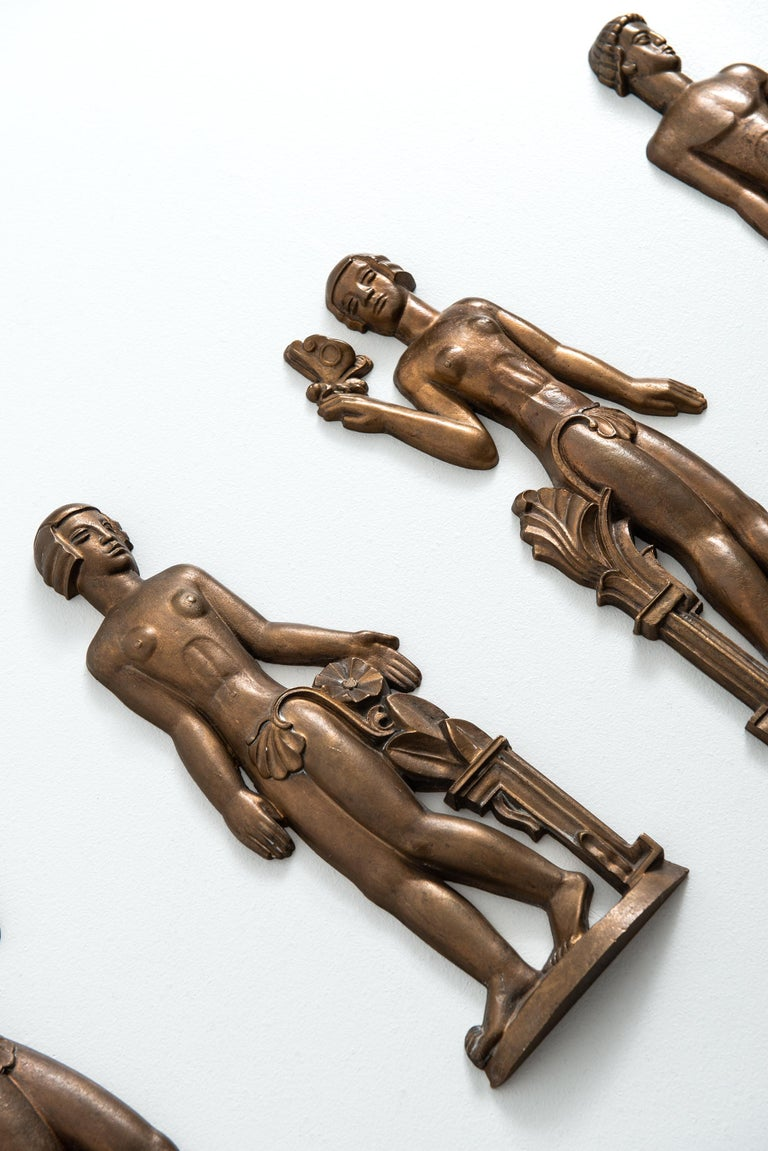 Swedish Stig Blomberg Reliefs in Bronze by ASEA in Sweden For Sale