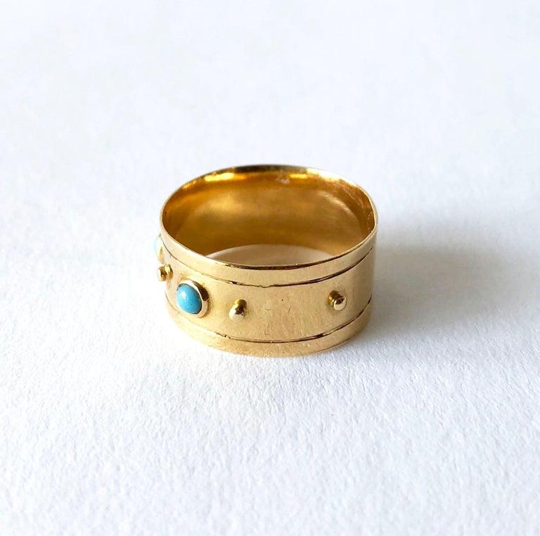 Modernist Stig Engelbert Stigbert 18 Karat Gold Turquoise Engagement or Wedding Band Ring For Sale