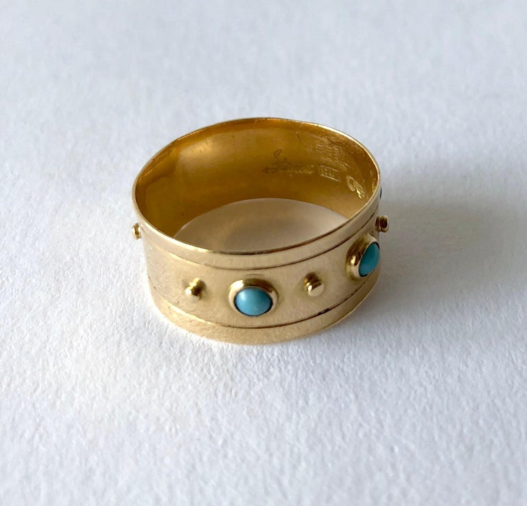 Stig Engelbert Stigbert 18 Karat Gold Turquoise Engagement or Wedding Band Ring In Good Condition For Sale In Los Angeles, CA