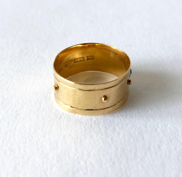 Women's Stig Engelbert Stigbert 18 Karat Gold Turquoise Engagement or Wedding Band Ring For Sale