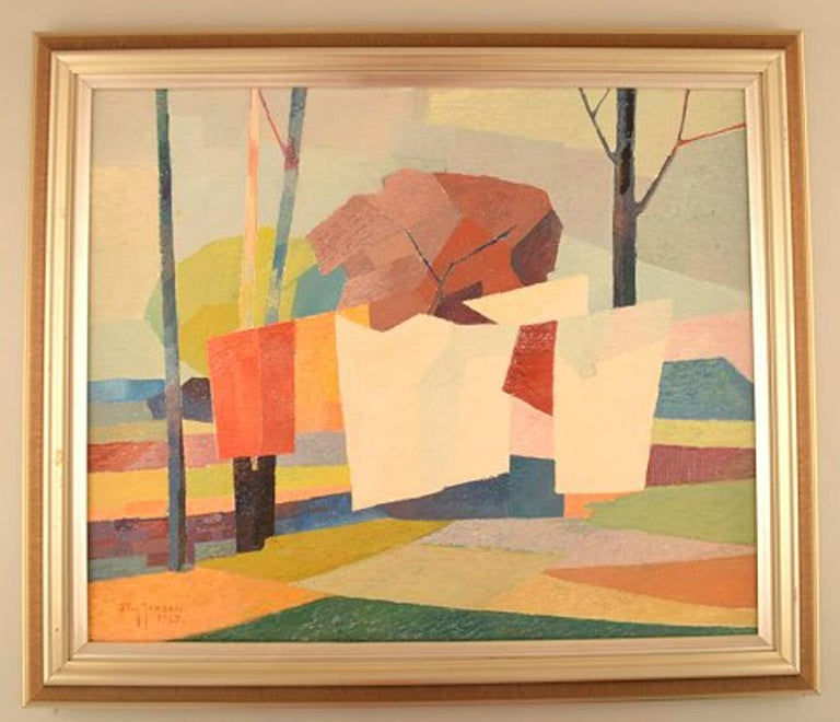 Stig Jonzon. Swedish artist. Oil on canvas. Cubist landscape. Laundry on a string. In perfect condition. The canvas measures: 54 cm x 45 cm. The frame measures: 5.5 cm. Signed and dated. 1967.