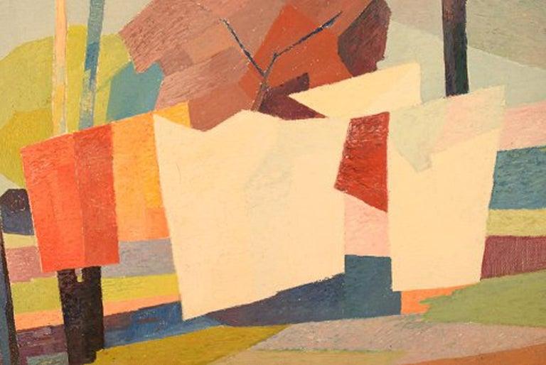 Modern Stig Jonzon, Swedish Artist, Oil on Canvas, Cubist Landscape For Sale