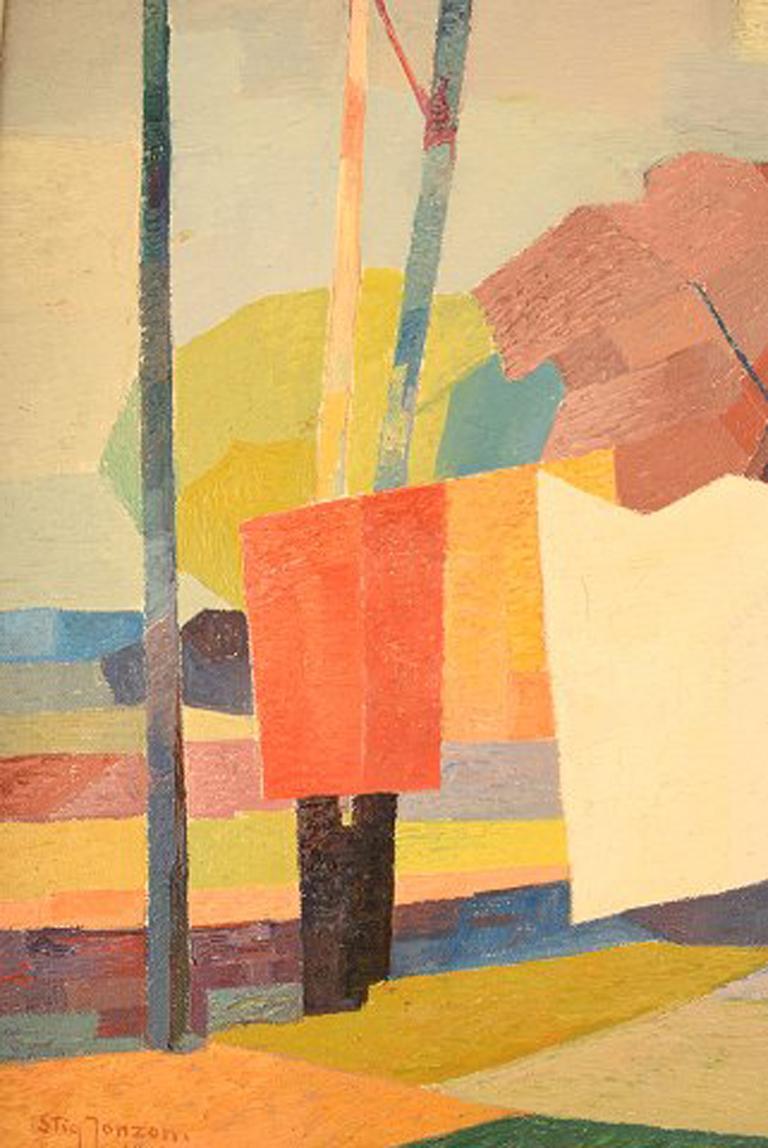 Stig Jonzon, Swedish Artist, Oil on Canvas, Cubist Landscape In Excellent Condition For Sale In Copenhagen, Denmark