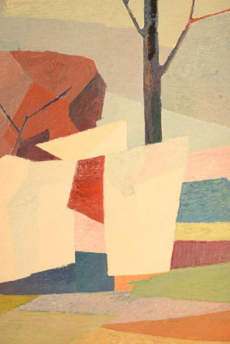 Mid-20th Century Stig Jonzon, Swedish Artist, Oil on Canvas, Cubist Landscape For Sale