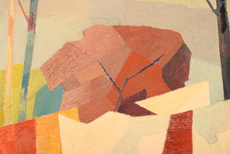 Stig Jonzon, Swedish Artist, Oil on Canvas, Cubist Landscape For Sale 1