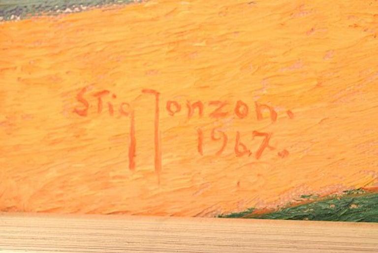 Stig Jonzon, Swedish Artist, Oil on Canvas, Cubist Landscape For Sale 2