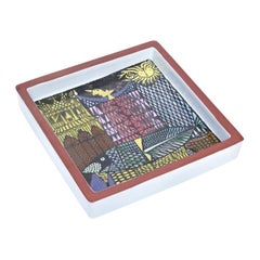 Stig Lindberg Ceramic Square Bowl or Dish Vintage Desk Accessory