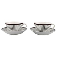 "Stig Lindberg for Gustavsberg, a Pair of ""Spisa Ribb"" Tea Cups with Saucers"
