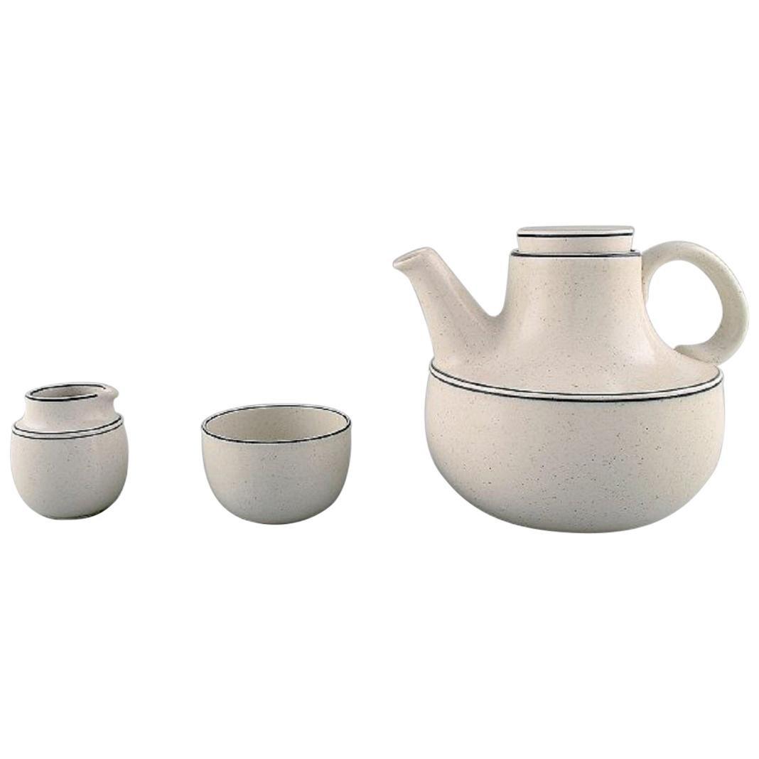 "Stig Lindberg for Gustavsberg, ""Birka"" Teapot with Sugar / Cream Set"
