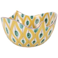 Stig Lindberg for Gustavsberg Leaf Shaped Ceramic Bowl with Colorful Decor 1950s