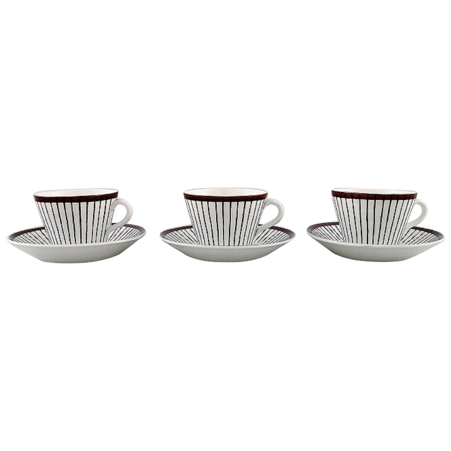 "Stig Lindberg for Gustavsberg, Three ""Spisa Ribb"" Coffee Cups with Saucers"
