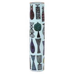 Stig Lindberg Karneval Vase, Ceramic, White, Yellow and Purple, Signed