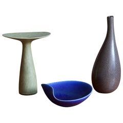 Stig Lindberg, Organic Vases & Bowl, Glazed Stoneware, Gustavsberg, Sweden 1950s
