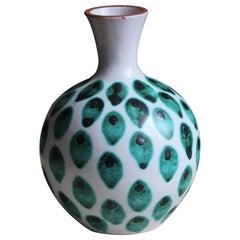 Stig Lindberg, Small Studio Vase, Hand-Painted Faience, Gustavsberg, Sweden