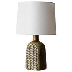 Stig Lindberg, Table Lamp, Ceramic, Fabric, Gustavsberg, Sweden, 1950s