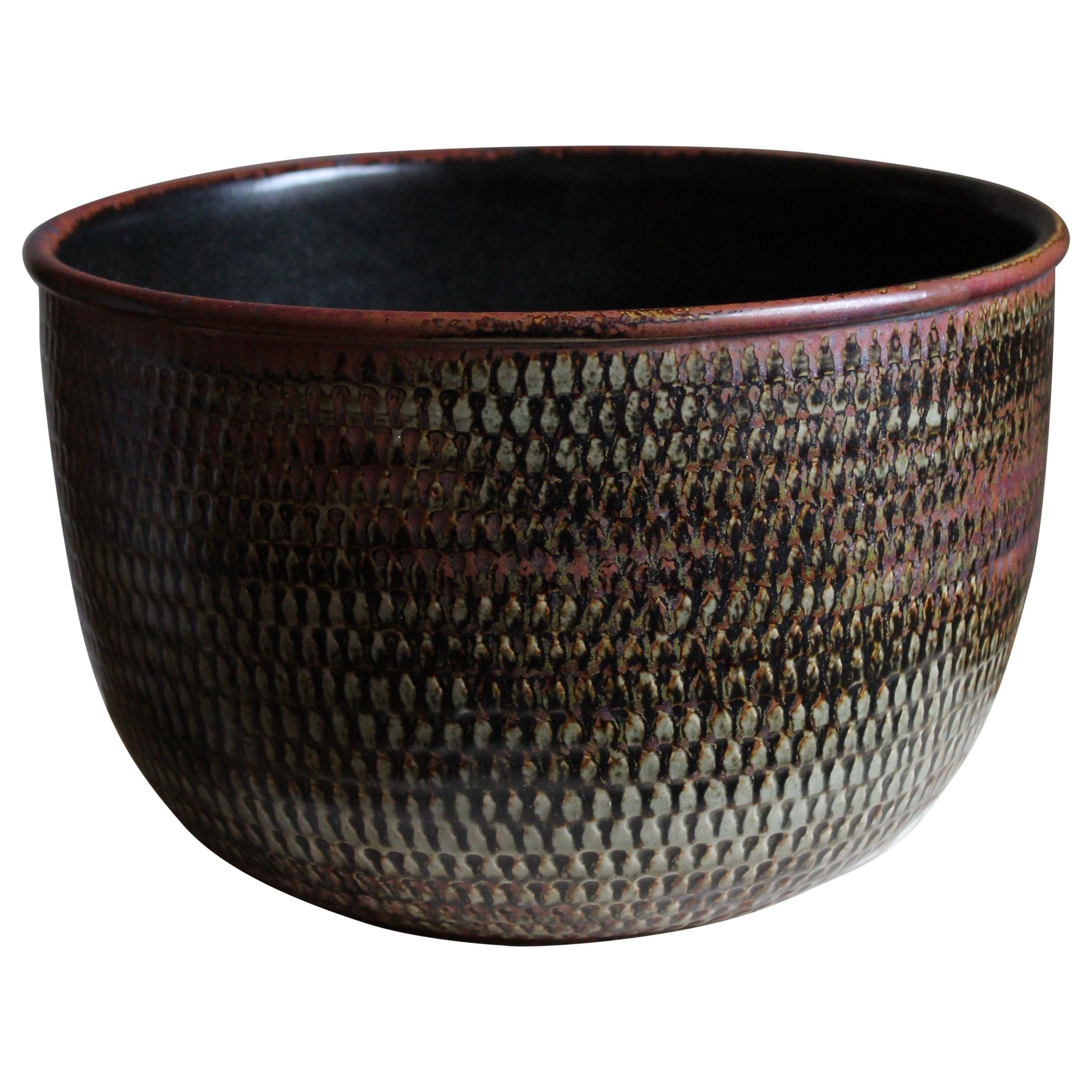 Stig Lindberg, Unique Sizable Bowl, Glazed Stoneware, Gustavsberg, Sweden, 1960s