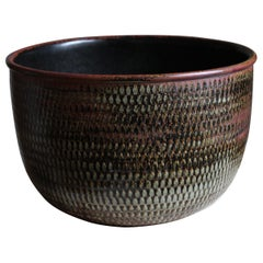 Stig Lindberg, Unique Sizable Bowl, Glazed Stoneware, Gustavsberg, Sweden, 1960s