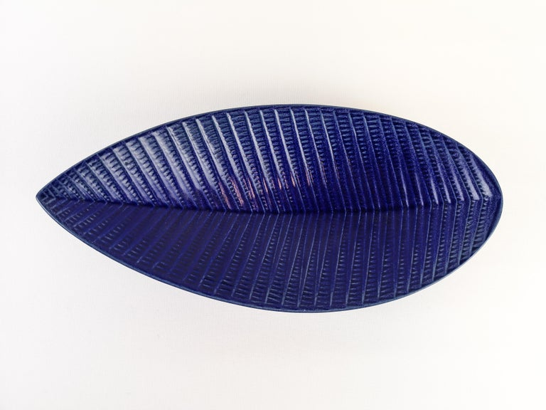 Scandinavian Modern Stig Lindberg Vase and Bowl Reptile Gustavsberg Rare Blue For Sale