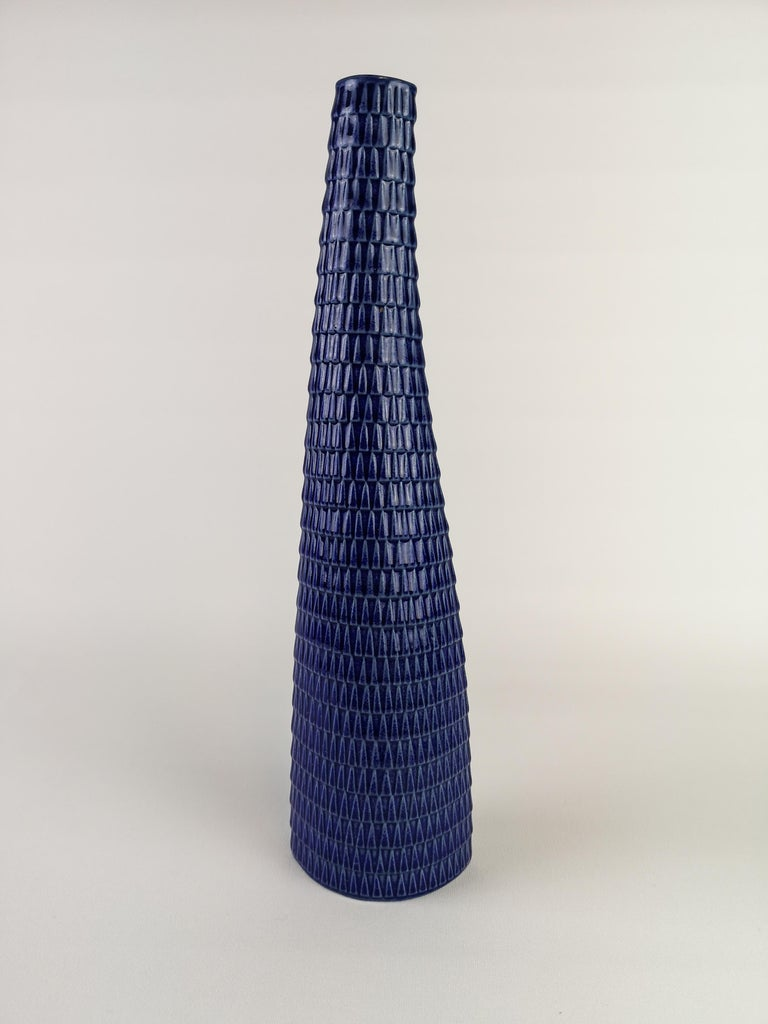 Stig Lindberg Vase and Bowl Reptile Gustavsberg Rare Blue In Excellent Condition For Sale In Langserud, SE