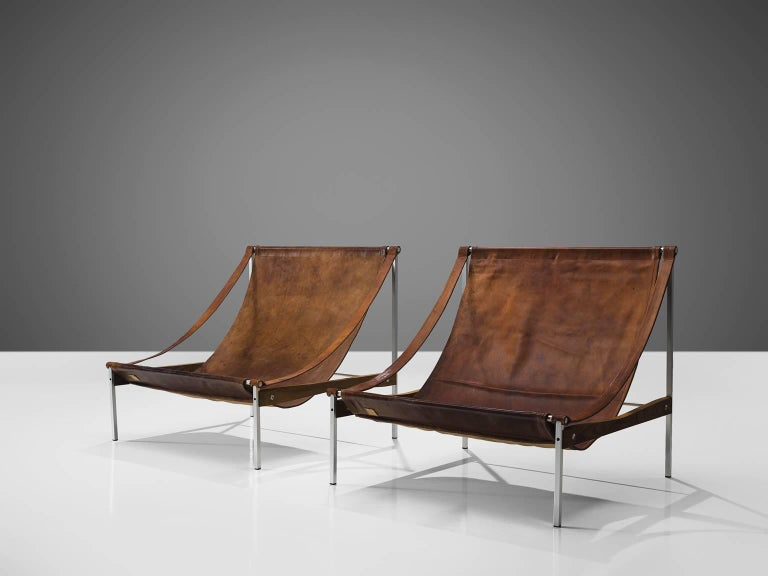 Stig Poulsson, cognac leather, steel, ash, Denmark, circa 1975.
