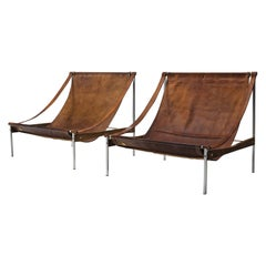 Stig Poulsson Rare Grand Leather Chairs