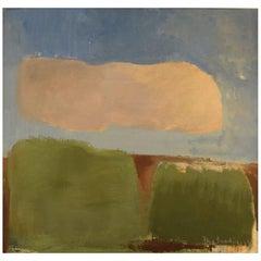 Stig Sundin, Sweden, Oil on Board, Modernist Landscape, Gotland