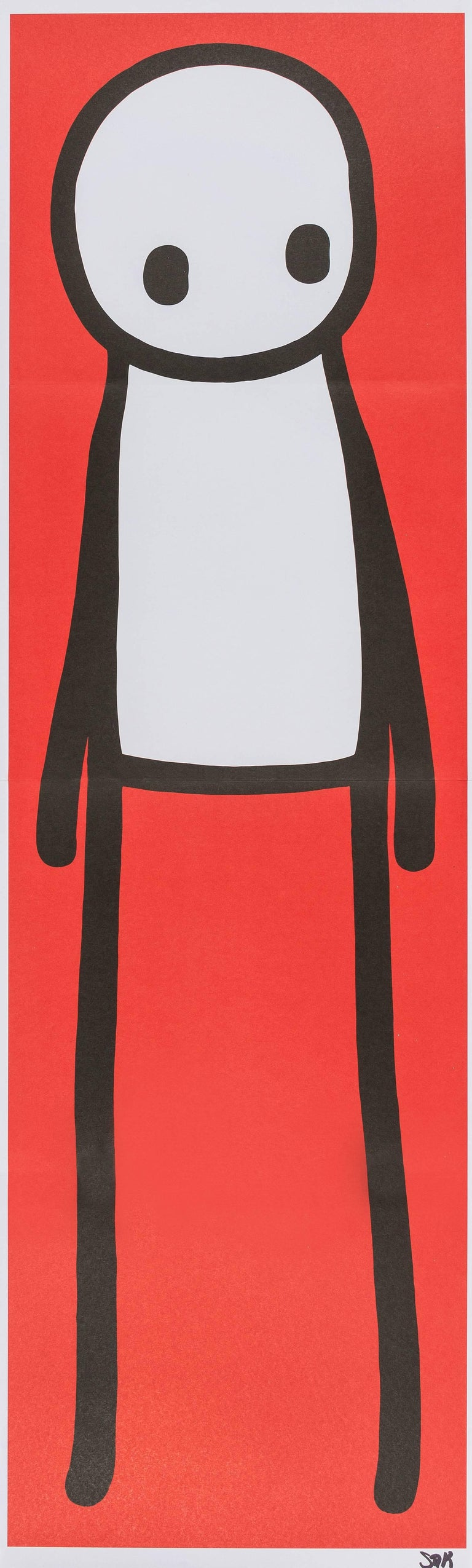 STIK  Standing Figure (Red), 2015 Offset lithograph printed in colours Signed in black felt tip Sheet: 75.5 x 24.0 cm (30.5 x 9.5 in)  Accompanied with the book 'STIK', first edition, signed and doodled by the artist in black ink, 267 x 222mm (10 ½