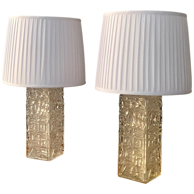 Stilarmatur Tranås, Pair of Large Table Lamps, Glass, White Fabric, Sweden 1960s