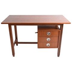 Stildomus Mid-Century Modern Teak and Steel Italian Desk, 1960s