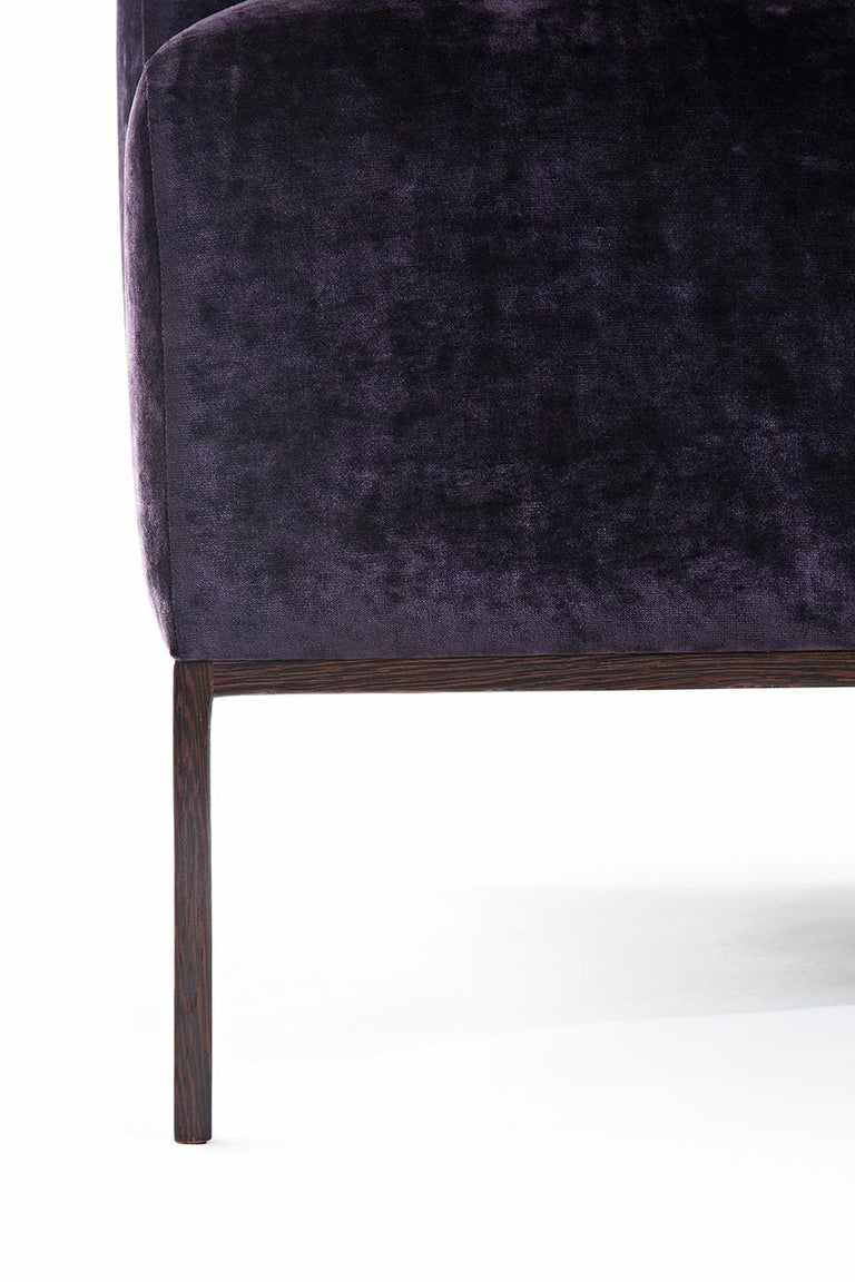 American Stiletto Sofa Channeling Tufted Custom, Purple, Metal Veneer Base, Tight Seat For Sale