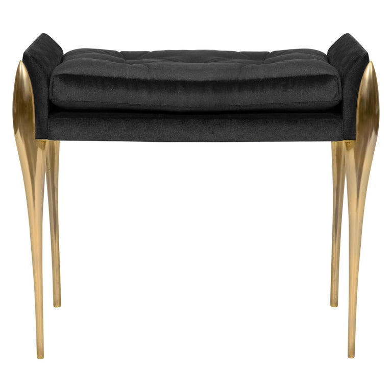 Stiletto Stool with Polished Brass Structure For Sale