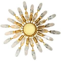 Stilkronen Crystal and Gilded Brass Italian Flush Mount Sconce