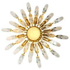 Stilkronen Crystal and Gilded Brass Italian Flushmount Sconce