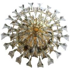 Stilkronen Italian Gilt Brass and Crystal Flush Mount Chandelier