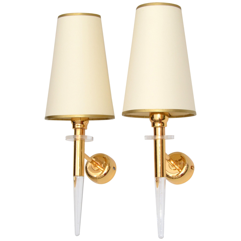Stilkronen Italy Brass & Crystal Sconces, Wall Lights Mid-Century Modern - Pair