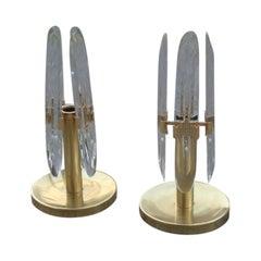 Stilkronen Tischlampe, Italienisches Design, 1970, Kristall und Messing, Skulpturales Minimalistisches Design
