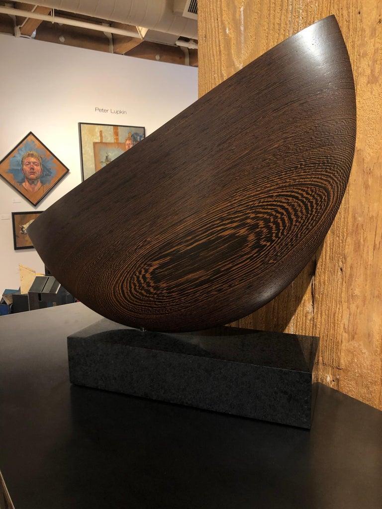 Still, Hand Carved Wenge Wood Diagonal Half Moon Sculpture on Granite Base For Sale 5