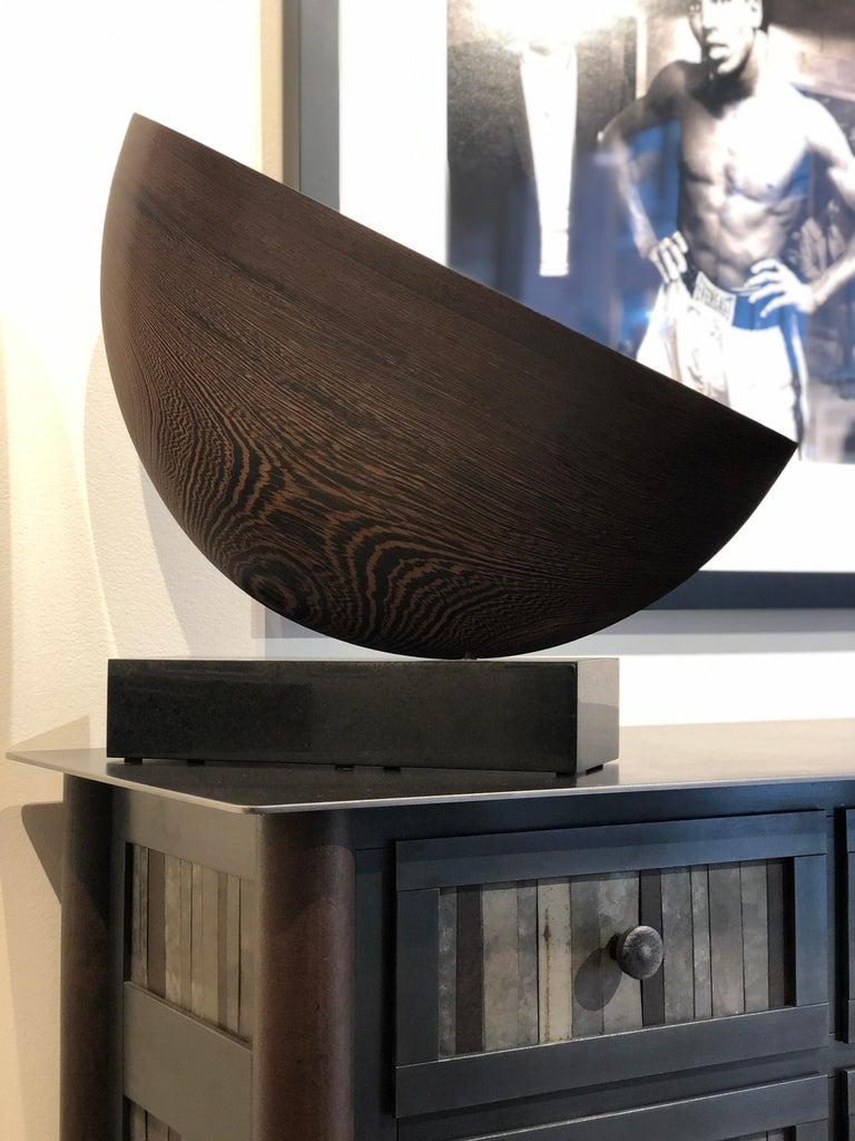 Modern Still, Hand Carved Wenge Wood Diagonal Half Moon Sculpture on Granite Base For Sale
