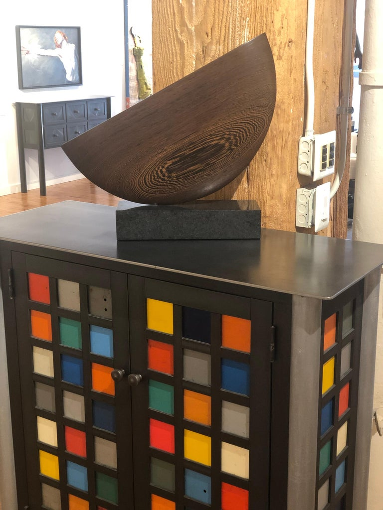 Still, Hand Carved Wenge Wood Diagonal Half Moon Sculpture on Granite Base In New Condition For Sale In Chicago, IL