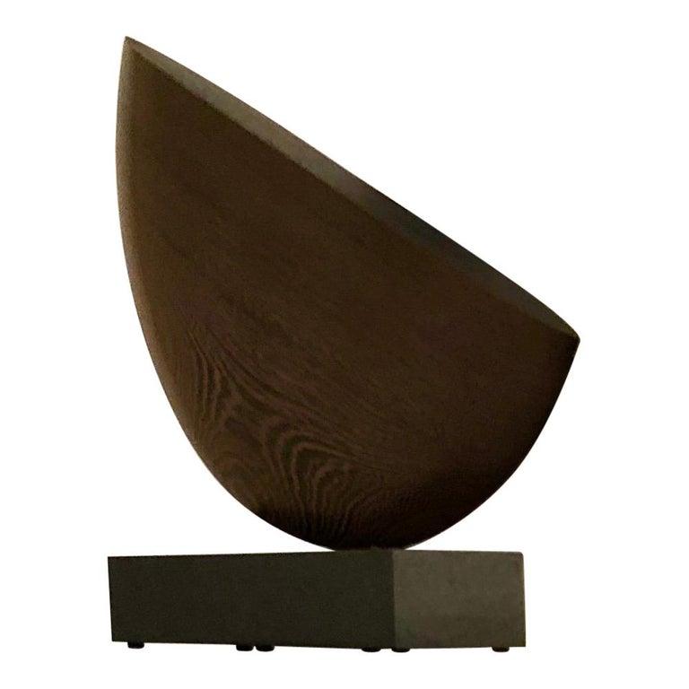American Still, Hand Carved Wenge Wood Diagonal Half Moon Sculpture on Granite Base For Sale