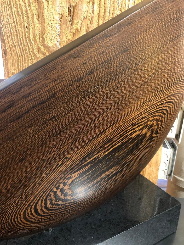 Still, Hand Carved Wenge Wood Diagonal Half Moon Sculpture on Granite Base For Sale 3