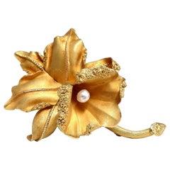 Still Life 3D Orchid Brooch 18 Karat