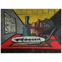 Still Life Dining Table Scene in the Manner of Bernard Buffet