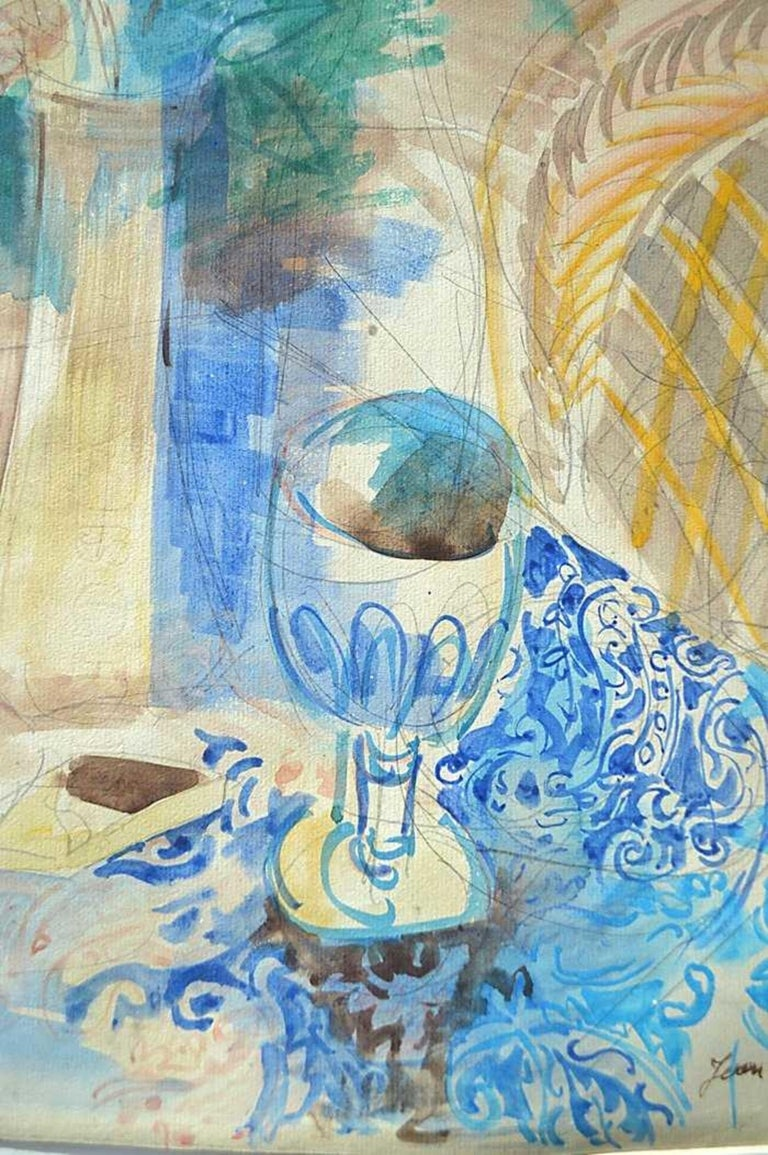 Still Life, Flowers In a Vase by Jean Dufy (French, 1888-1964) Signed Jean Dufy, lower right Watercolor and pencil on paper Size: 23 1/2 by 17 1/2 in. (68.7 x 43.7 cm.); Overall 35 by 29 in.  Provenance: Purchased Phillips Gallery, Palm Beach,