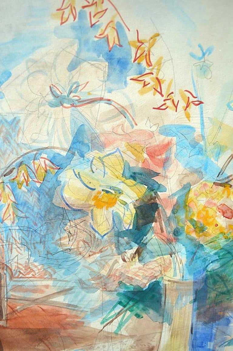 Still Life, Flowers in a Vase Watercolor by Jean Dufy, Signed  In Good Condition In Palm Beach, FL