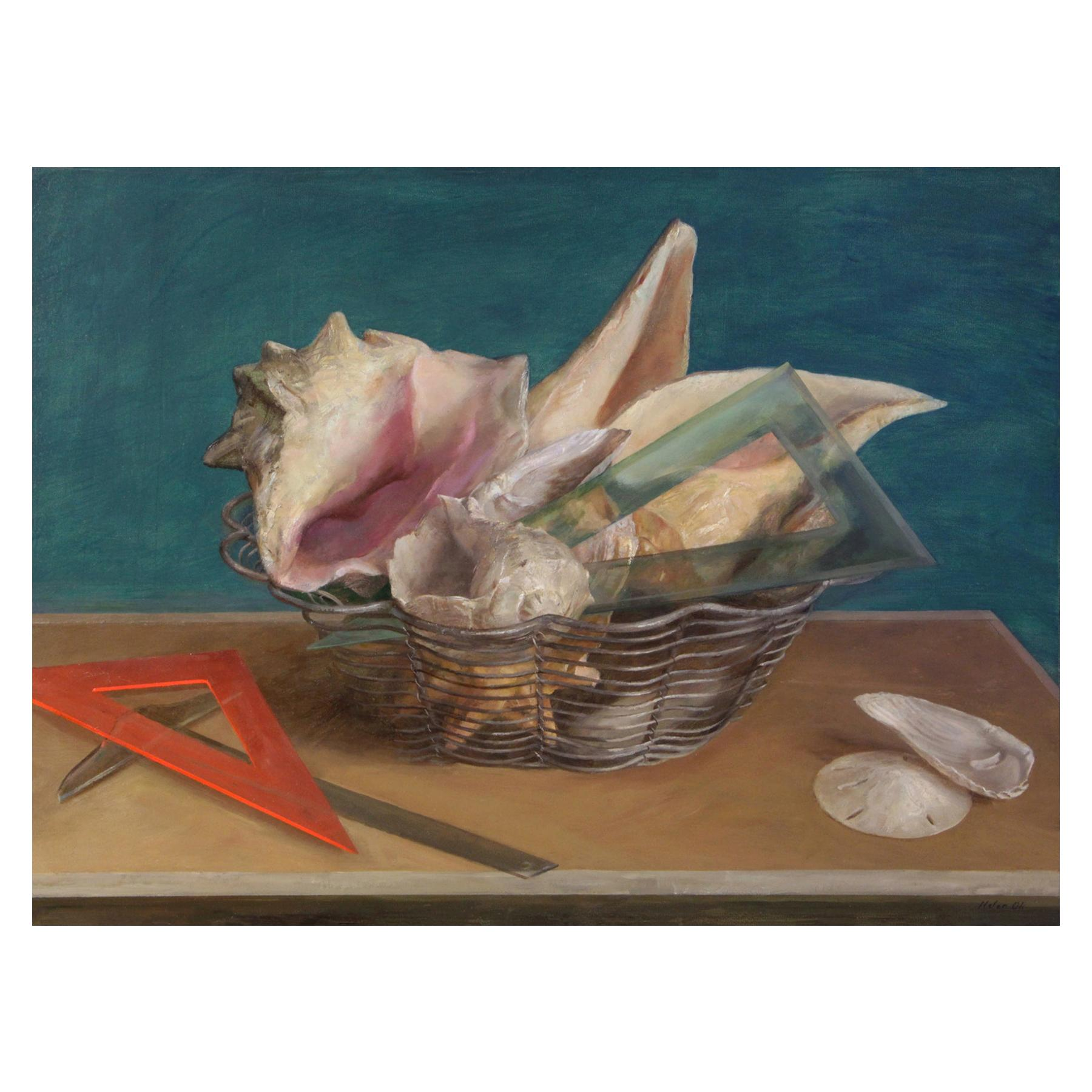 Still Life in Wire Basket, Basket Filled with Sea Shells & Architectural Tools